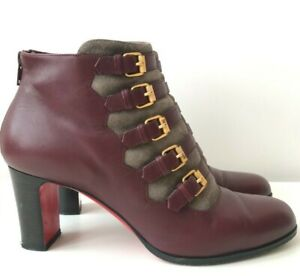 Christian Louboutin Attroupee 100 Wine Leather Boots EU 39.5 US 9.5