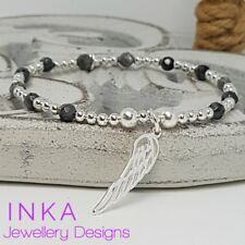 Inka 925 Sterling Silver & Labradorite bead Stacking Bracelet with Wing charm