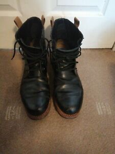 Clarks Norton Rise Mens Black Leather Lace Up Worker Biker Boots UK 12