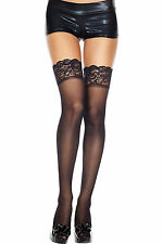 Sheer Nylon Floral Lace Top Thigh High Stockings Retro Pinup Medium/Plus Size