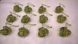 12 HANDMADE CHRISTMAS ORNAMENTS MADE WITH BLING GREEN AND GOLD