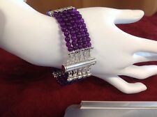 "Natural Russian Amethyst Bracelet 5 Strand Sz 7.75"""