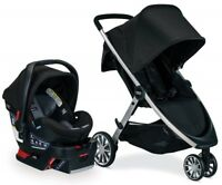 Britax B-Lively Stroller & B-Safe Ultra Infant Car Seat Travel System Noir NEW