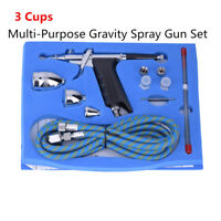0.3mm 3 Cups Multi-Purpose Gravity Dual-Action Spray Gun Kit Trigger Airbrush IS