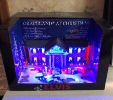 Graceland  at Christmas Porcelain Lighted Musical Elvis Presley New In Box