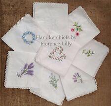 Pack of 3 Beautiful 100% Cotton Ladies Handkerchiefs with Fine Crochet Borders