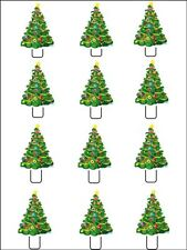 12 x CHRISTMAS TREE  STAND UPS Edible Rice Paper Cup Cake Decorations Toppers