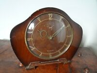 Antique Art Deco Carved Oak  Smiths Mantel Clock with Winding Mechanism -Time