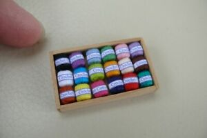 1/12th dolls house - BOX OF CROCHET COTTONS - SG