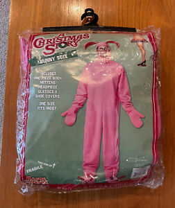 Pink Bunny Costume Adult Ralphie A Christmas Story Glasses Footsies Gloves ++