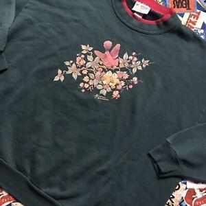 Vintage Morning Sun Crewneck Sweatshirt Birds Flower Grandma Plus Size 2XL