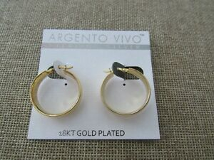 "Argento Vivo Sterling Silver 18kt gold plated 1"" hoops earrings"