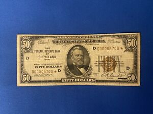 $50 1929 Low Serial Number D00005700* Cleveland Star Note (Rare)