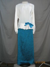 Edwardian Dress 1920s Great Gatsby Art Deco Titanic Style Blue & White