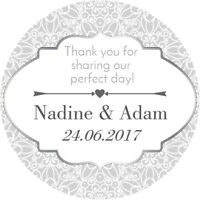 24  PERSONALISED WEDDING ENGAGEMENT PARTY FAVOR LABELS THANK YOU SILVER STICKERS