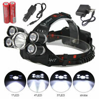 4 Modes 50000Lm XML-T6 5LED Headlamp Camping Hiking Headlight Torch Lamp 18650