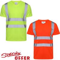 HI VIZ VIS HIGH VISIBILITY V NECK REFLECTIVE TAPE SAFETY SECURITY WORK TEE TOPS