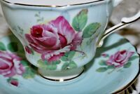 PARAGON Footed Teacup Saucer PALE BLUE Double CABBAGE ROSE