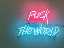 "New Fvck The World Neon Sign Acrylic Gift Light Lamp Bar Wall Room Decor 14""x10"""
