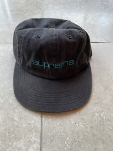 Supreme New York Black / Teal 6 panel hat Spellout Strap back OS