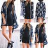 Women Chiffon Kimono Blouse Coat Boho Floral Cardigan Jacket Beach Cover Up Top