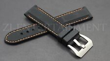 24MM Black Orange Rubber Strap band Steel Buckle Replacement Panerai Luminor Pam