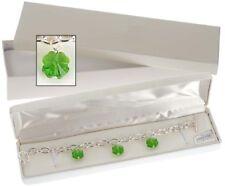 Crystal Clover Trio Bracelet Green Four Leaf Silver Tone New Made With Swarovski