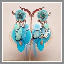 Boucles d'oreilles IKITA Bijoux clip bleu plumes strass fleur perle mode femme