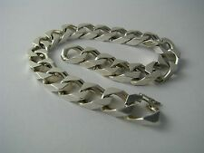 STERLING SILVER BRACELET CUBAN CURB STERLING SILVER CHAIN Italy ca1980's 8.5inch
