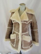 GENUINE SHEEPSKIN leather wool women's fitted rancher jacket coat SMALL