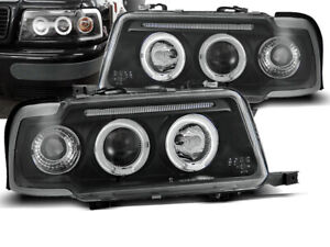 Headlights for Audi 80 B4 1991 1992 1993 1994 1995 1996 VR-1115 Angel Eyes Black