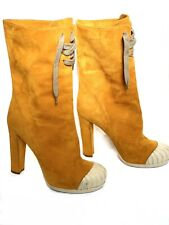 FENDI Duck Boots, Suede, Corduroy Look, Orange - Brown, Size 38, 8 US