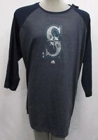 Seattle Mariners Men's Big & Tall 2XLT-4XLT 3/4-Sleeve Shirt MLB Majestic A13TLM