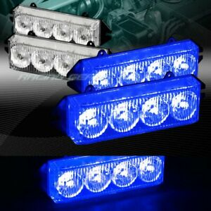 16 LED BLUE CAR EMERGENCY HAZARD WARNING GRILLE FLASH STROBE LIGHT UNIVERSAL 6