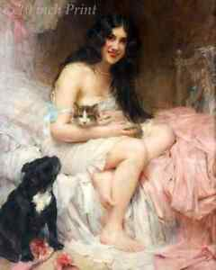 Girl With Her Cat and Black Dog  by Leon Comerre - Woman Bed Pet 8x10 Print 1439