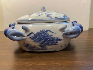 Crab Shaped Asian Bowl/Lid with Eyes & Legs, Shrimp on Top, Blue & White Shapely