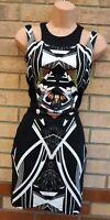 MISS SELFRIDGE BLACK WHITE TRIBAL STRAPPY BODYCON BANDAGE MINI TUBE DRESS 6 XS