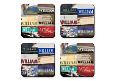 Personalized Coasters featuring the name WILLIAM in photos of signs - Set of 4