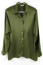Vtg Candiss Ann Cole Button Up Silk Blouse Green Long Sleeve Women's Size Medium