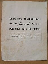 Instructions reel to reel tape recorder BRENELL MARK 5 portable tape player