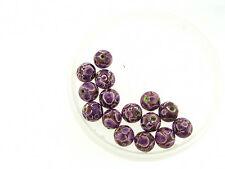 Vintage Mixed Purple Splash Design Enamel Look Coated Round Wood Bead Lot
