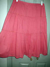 New Esprit 10 12 Coral Boho Cotton Lined Pleat Tiered Beaded Full A Skirt