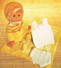 "Dolls clothes knitting pattern.12-14"" doll.  Laminated copy. (V Doll 134)"