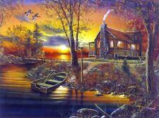 "As Night Falls  By Jim Hansel  Cabin Boat Duck Art  Print Image Size 16"" x 12"""