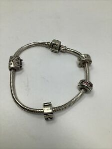 """Chamilia Sterling Silver 925 Charm Bracelet w/3 Movable Charms 7 1/2"""" (27.11g)"""