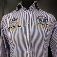 LA MARTINA Mens Shirt POLO SMALL Long Sleeve Purple Regular Fit Striped Cotton
