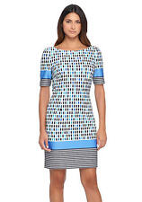 Tahari ASL Multi-Color Print Short Sleeve Wear to Work Sheath Dress Sz 2