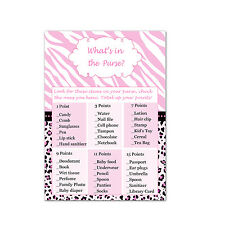 30 Whats In My Purse Bag Card Baby Bridal Shower Game Activity Pink Zebra