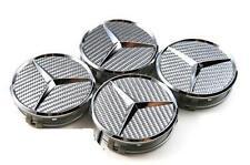 4 X Mercedes Benz 75mm Centre Wheel Caps Alloy Chrome/Silver Carbon AMG/SL/C/E/S