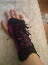 DIY GLOVES ARM WARMERS Pink Magenta Lace Corset Black Victorian